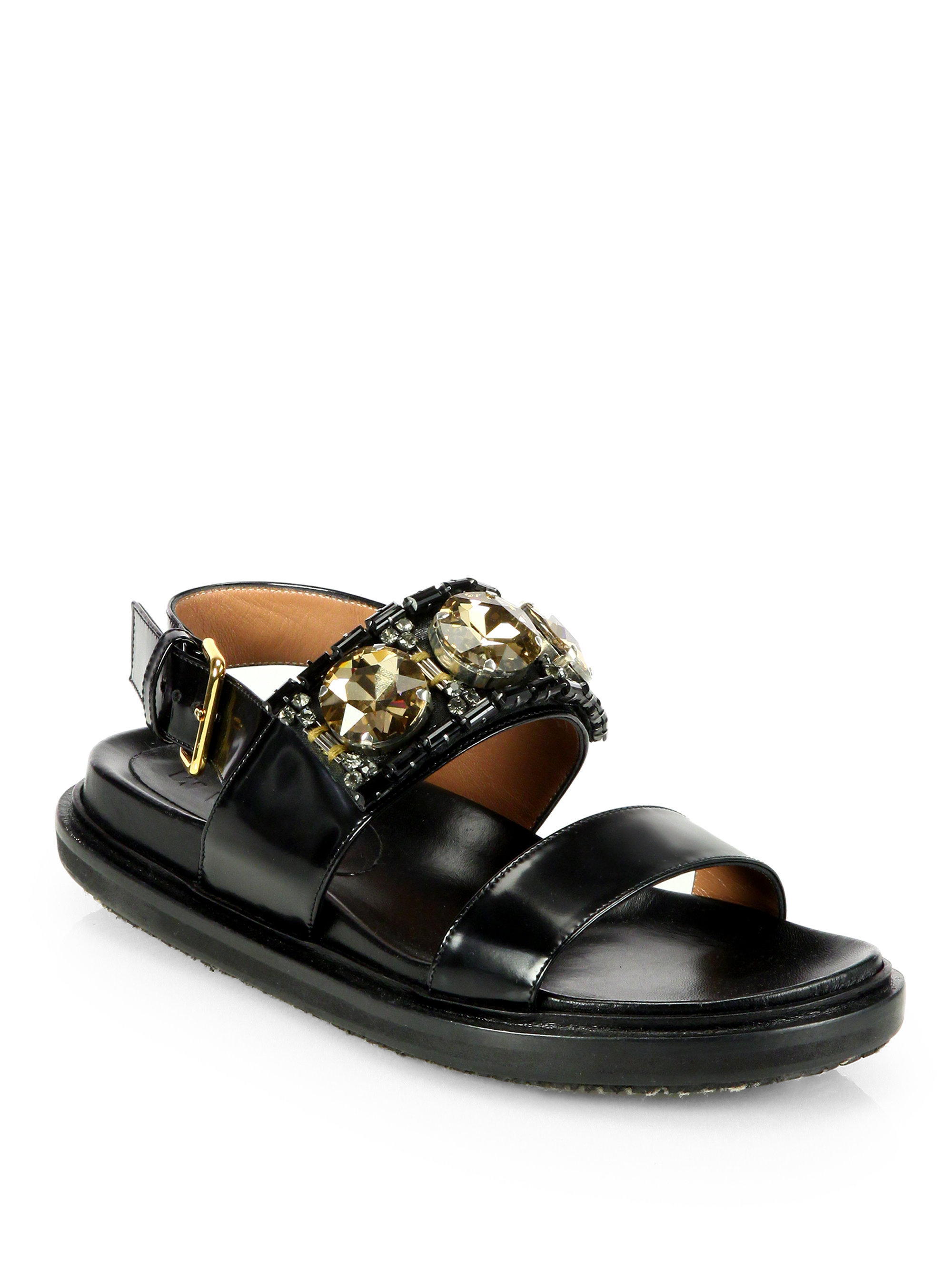 Marni Jeweled Leather Slingback Platform Flat Sandals In
