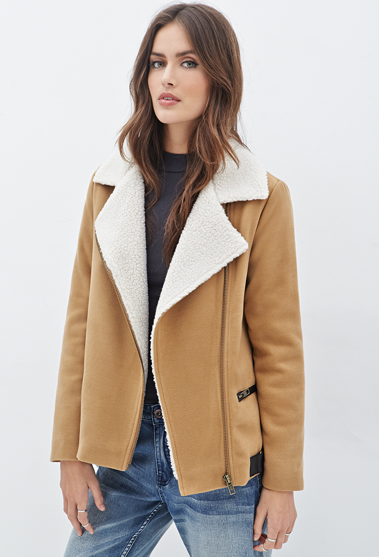 Forever 21 Contemporary Faux Shearling-lined Moto Jacket in ...