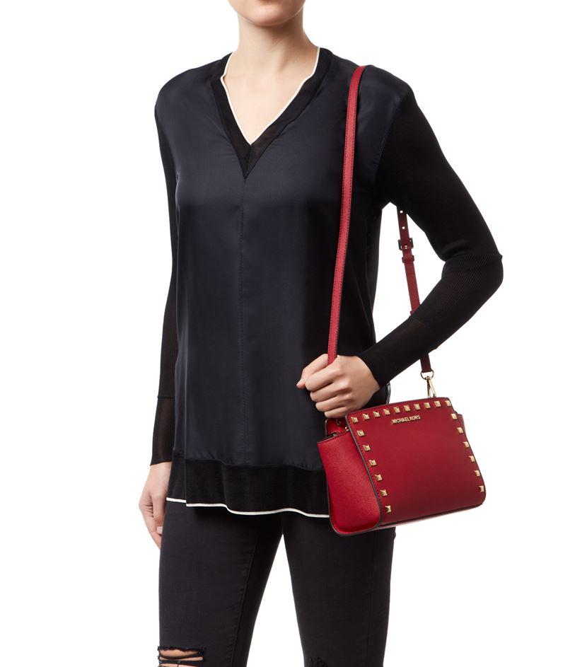 michael michael kors selma studded messenger bag in red lyst. Black Bedroom Furniture Sets. Home Design Ideas
