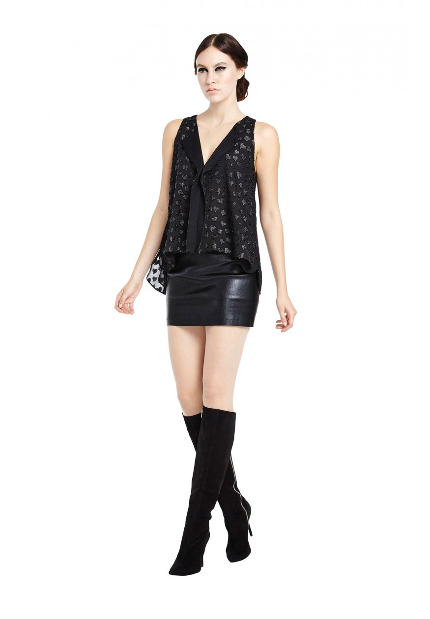 Alice   olivia Niko Fitted Leather Mini Skirt in Black   Lyst