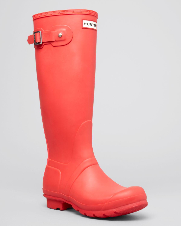 Hunter Rain Boots - Original Stripe in Pink (Bright Coral ...