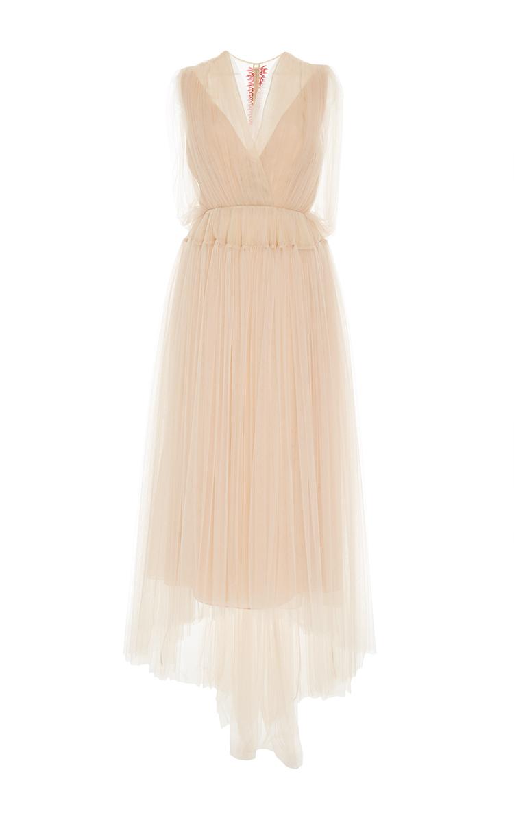 Asymmetric Tulle-Paneled Cotton-Poplin Dress Delpozo TTX8hVsE