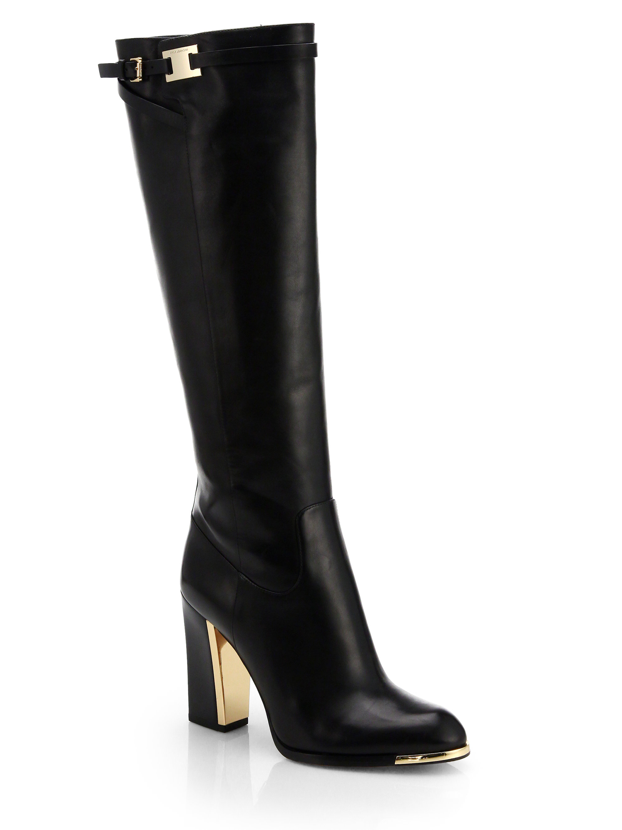 Lyst Michael Kors Julie Leather Knee High Boots In Black