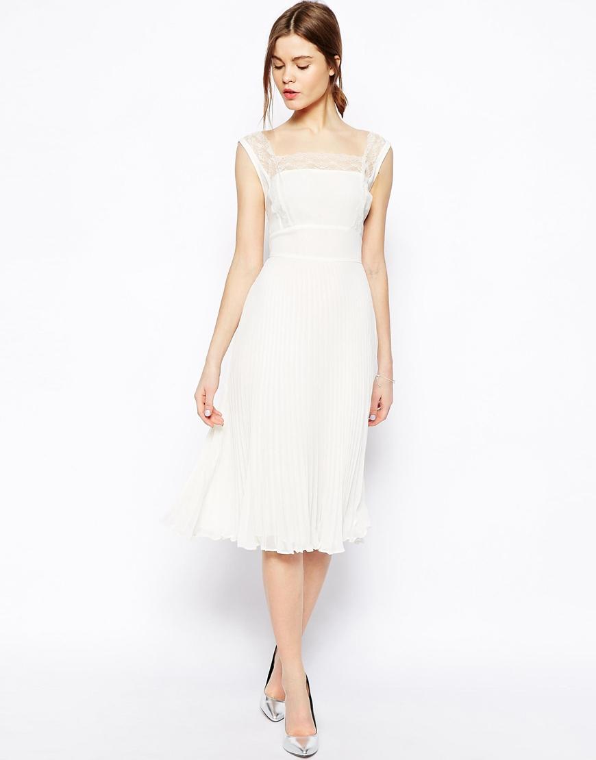 Lyst Asos Pleated Midi Dress In White