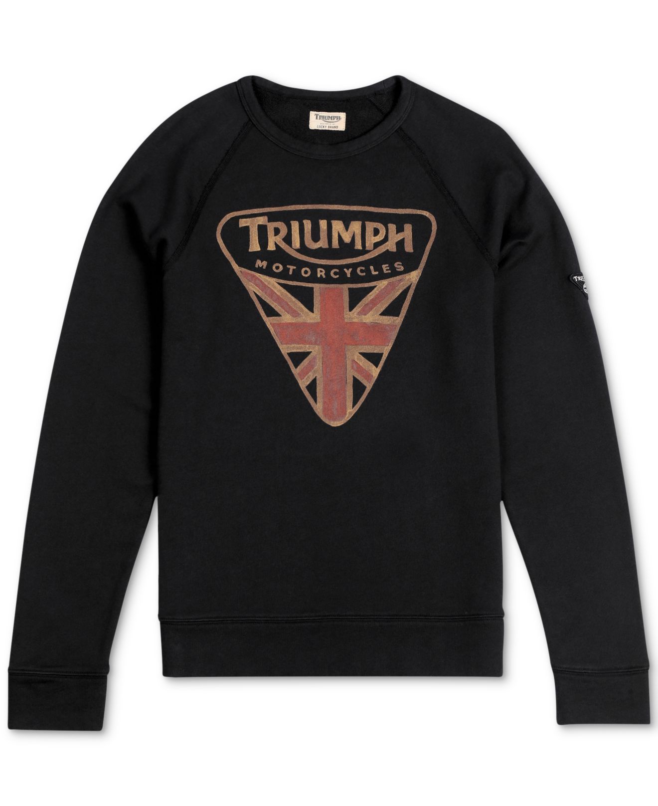 Lucky Brand Triumph Flag Raglan T Shirt In Black For Men