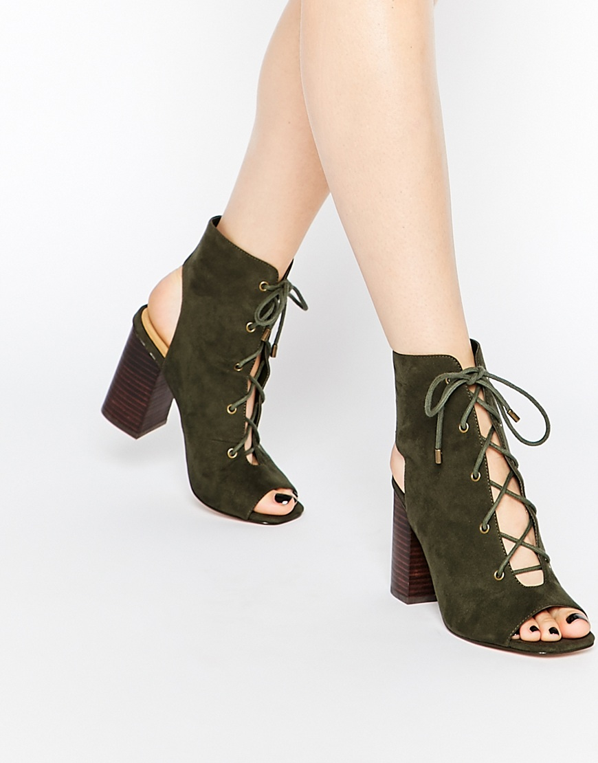 Asos Edgecombe Lace Up Heel Boots in Green | Lyst