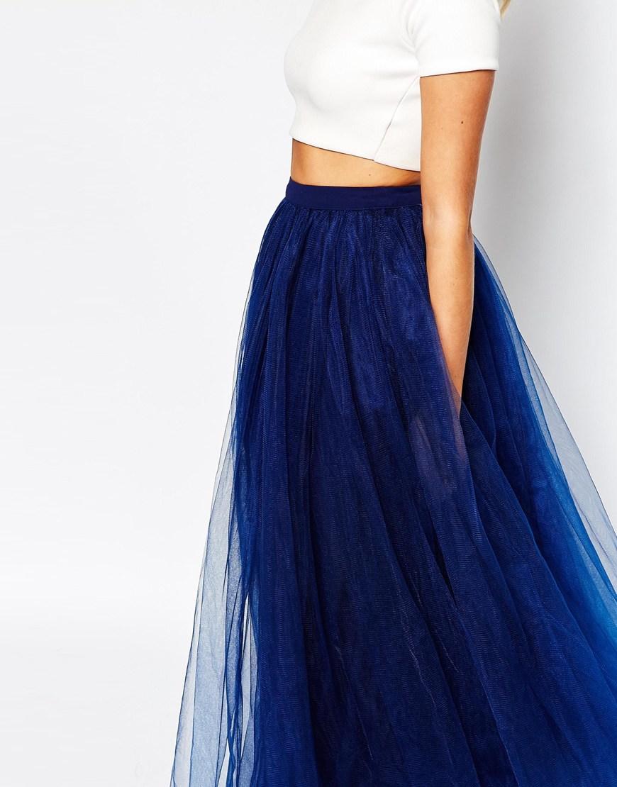 maxi tulle skirt in blue navy lyst