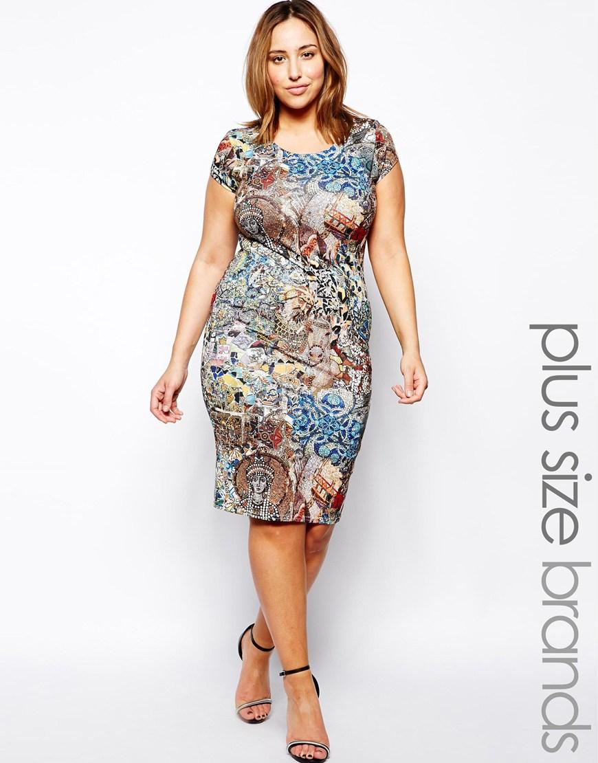 AX Paris Plus Size Mosaic Print Dress in Blue - Lyst