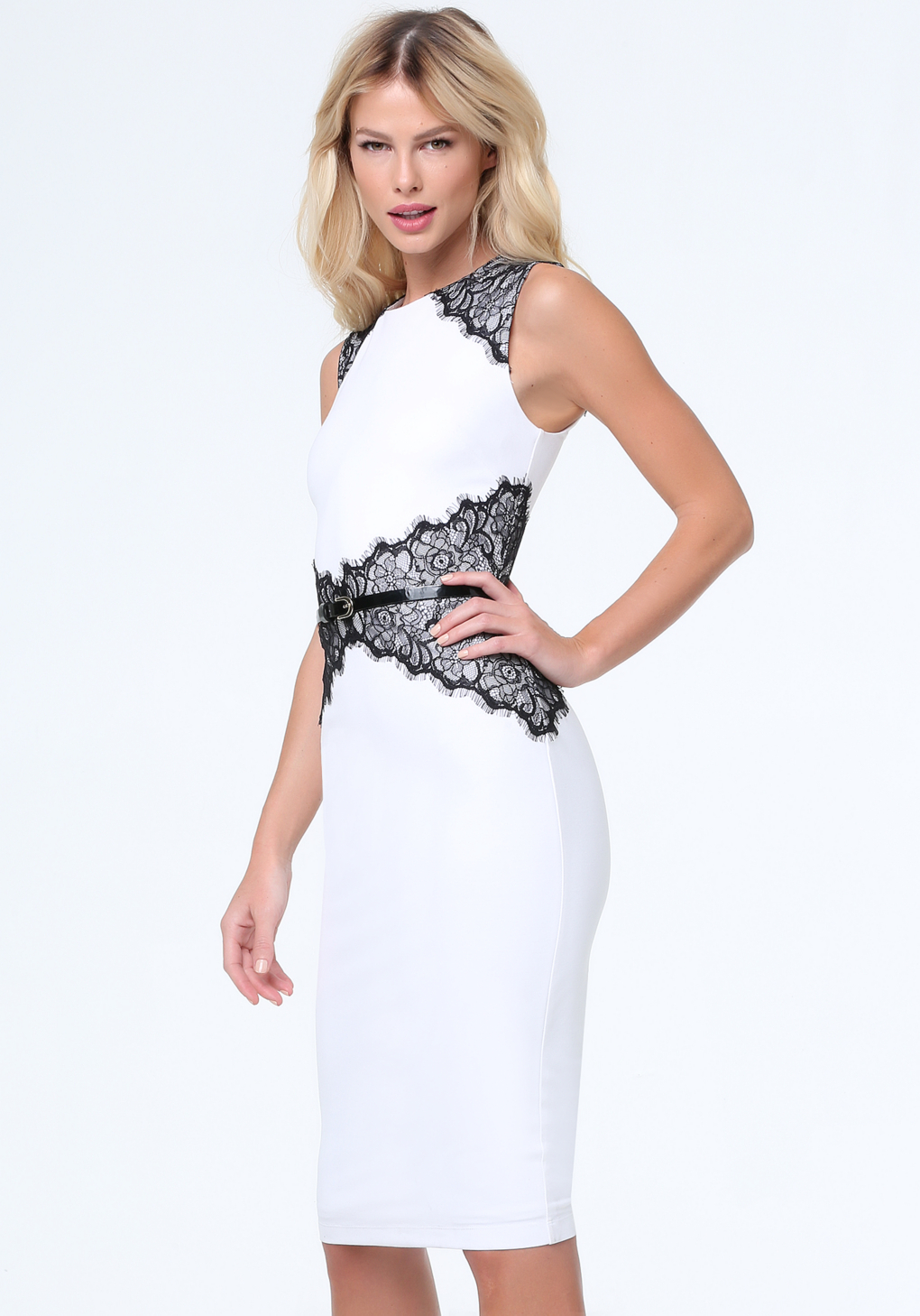 Bebe Lace Corset Midi Dress in White | Lyst
