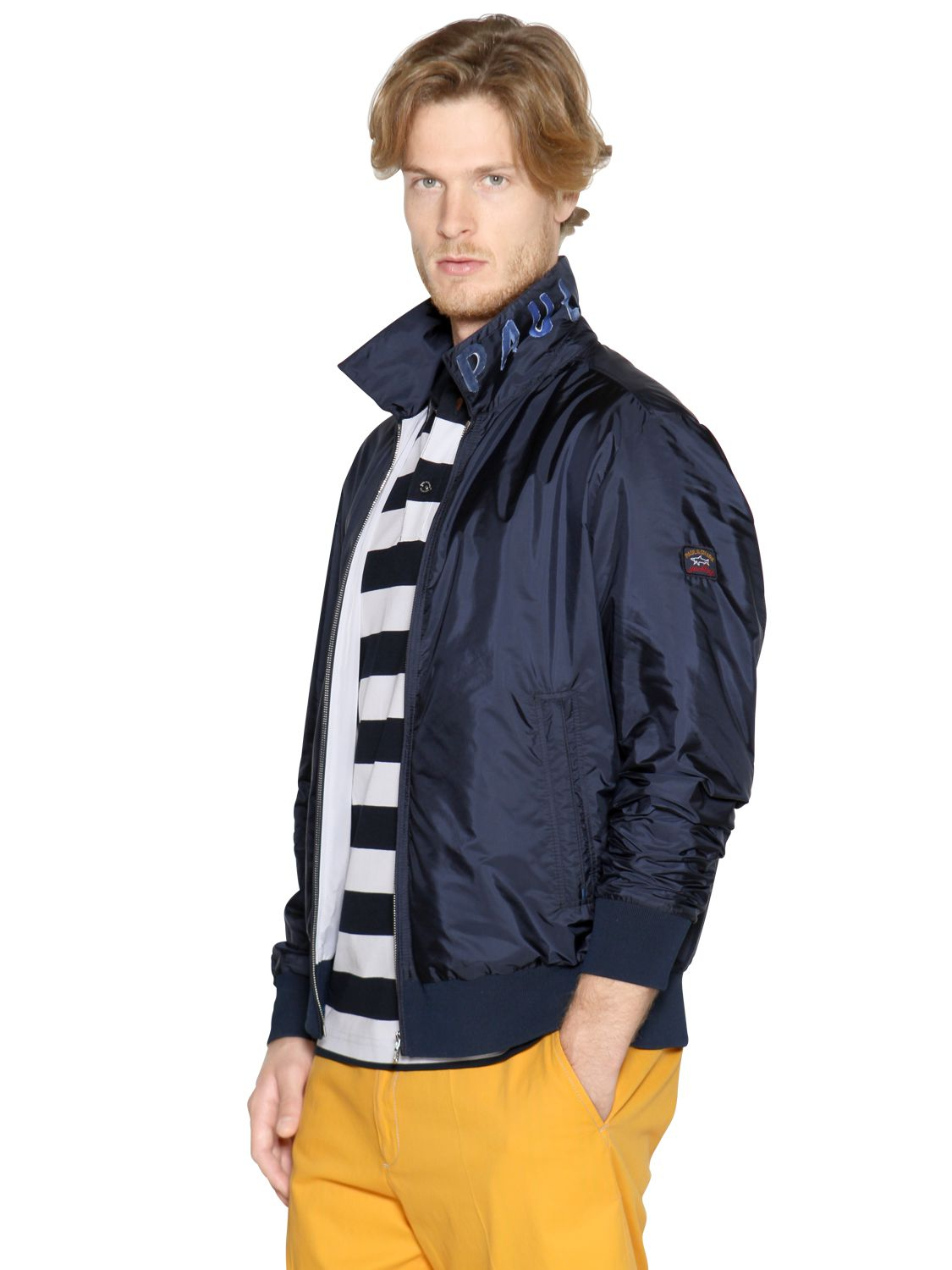 paul shark nylon bomber jacket in blue for men lyst. Black Bedroom Furniture Sets. Home Design Ideas