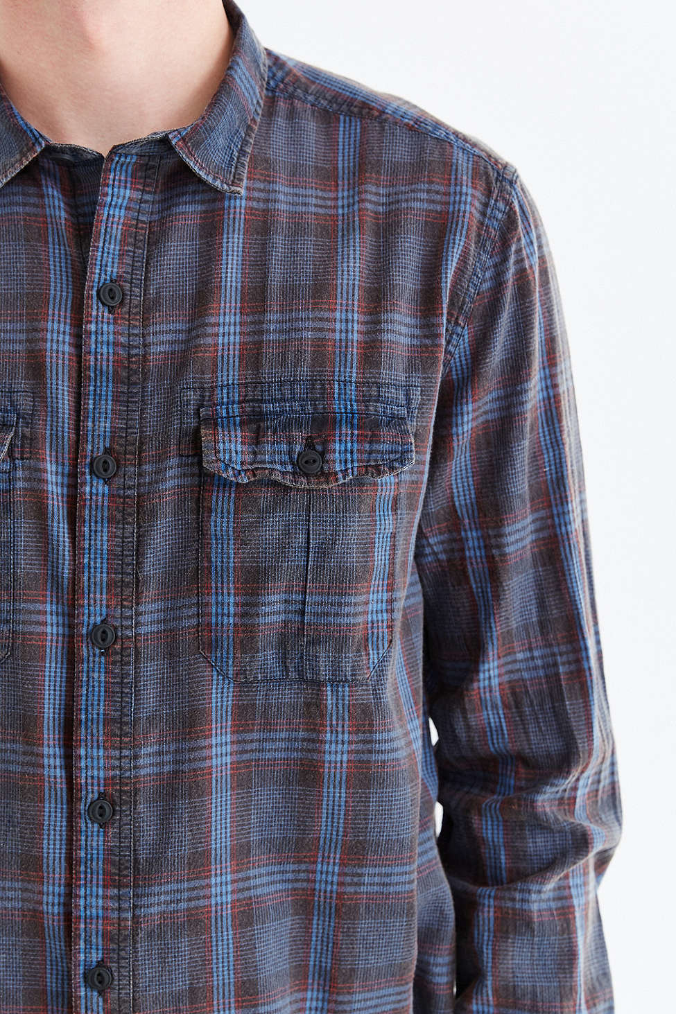salt valley acid washed plaid button down workshirt in