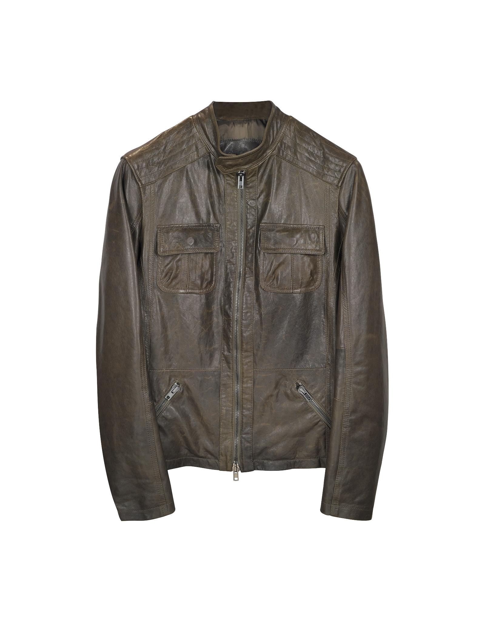 Forzieri Dark Brown Leather Motorcycle Jacket in Brown for Men