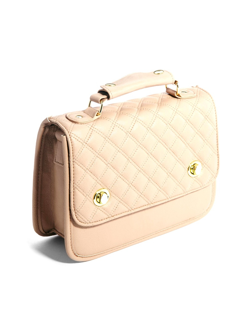 Asos Vintage Style Quilted Cross Body Bag In Natural Lyst