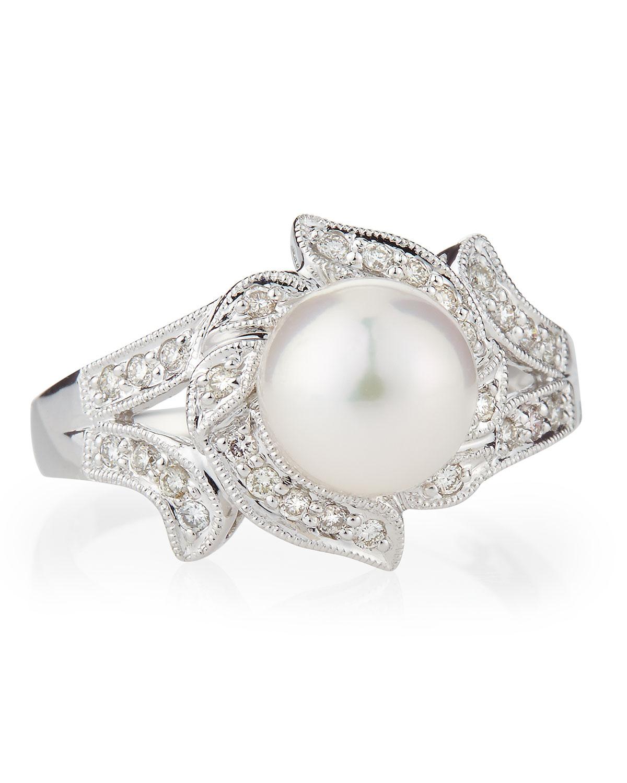 Belpearl 14k Split Diamond & Akoya Pearl Ring, Size 7