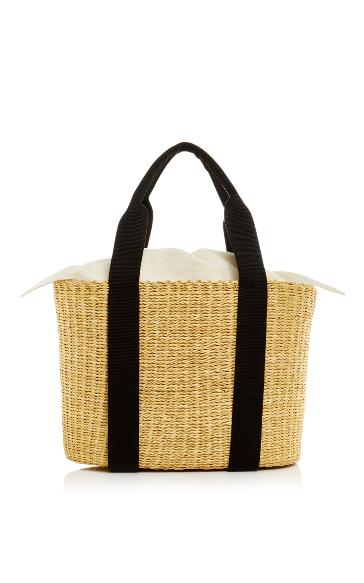 Lyst - Muuñ Caba Paper Straw Bag With Black Handle in Natural