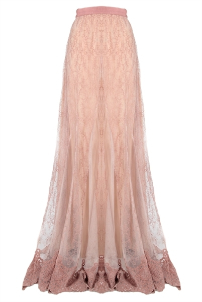 louie embroidered godet maxi skirt in pink