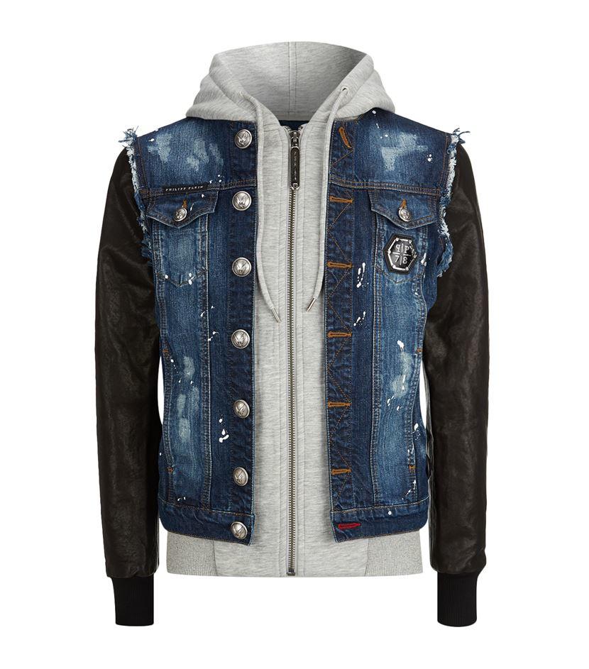 philipp plein how strong denim leather jacket in blue for men lyst. Black Bedroom Furniture Sets. Home Design Ideas