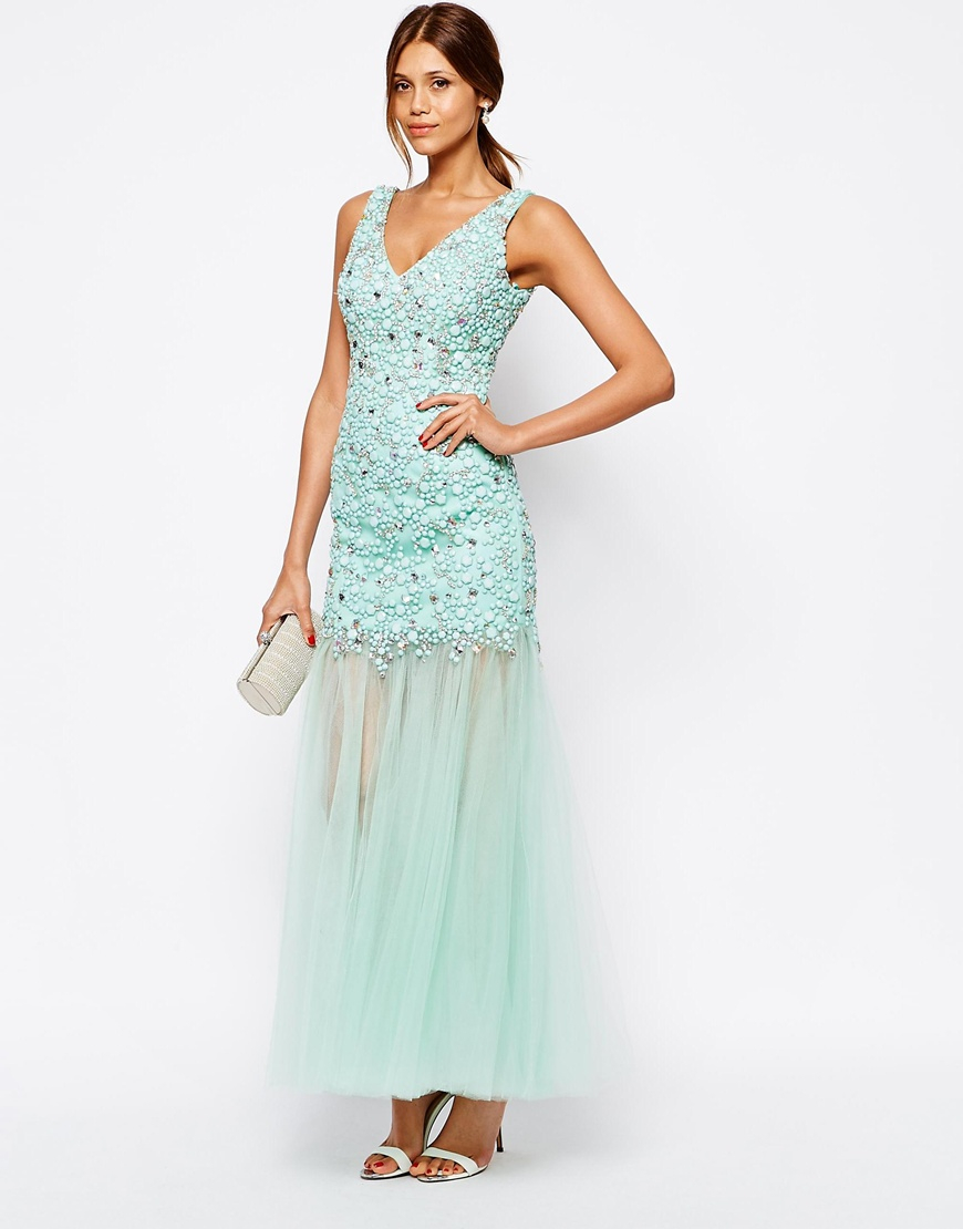 Lace Insert Maxi Dress - Mint Forever Unique umwVpdmQI