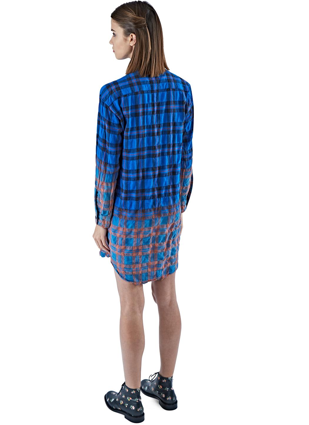 Saint Laurent Women 39 S Long Checked Shirt Dress In Blue In