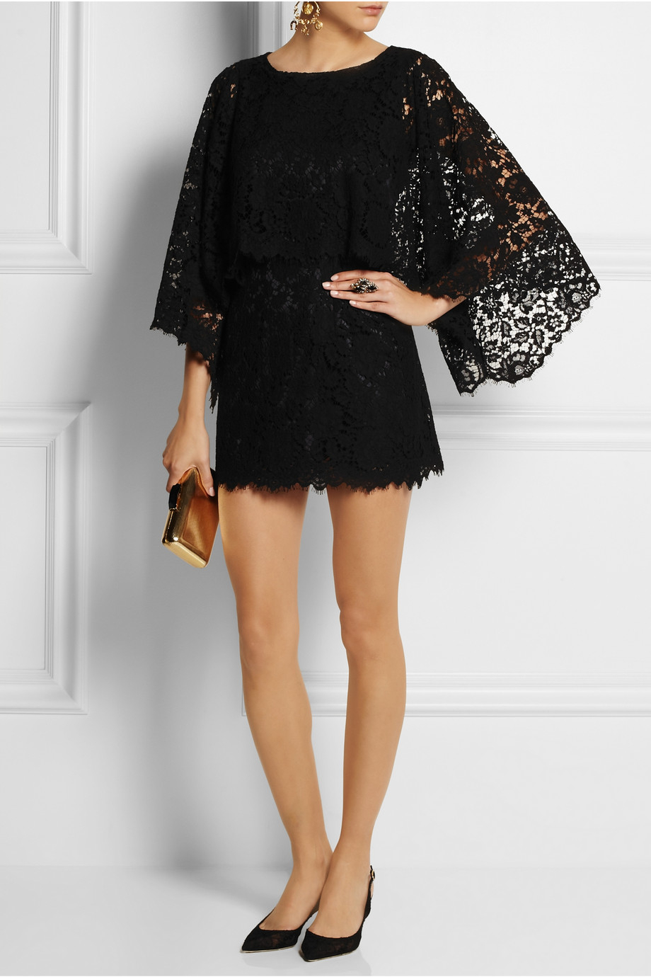 42a5b152a27 Dolce   Gabbana Lace Mini Dress in Black - Lyst