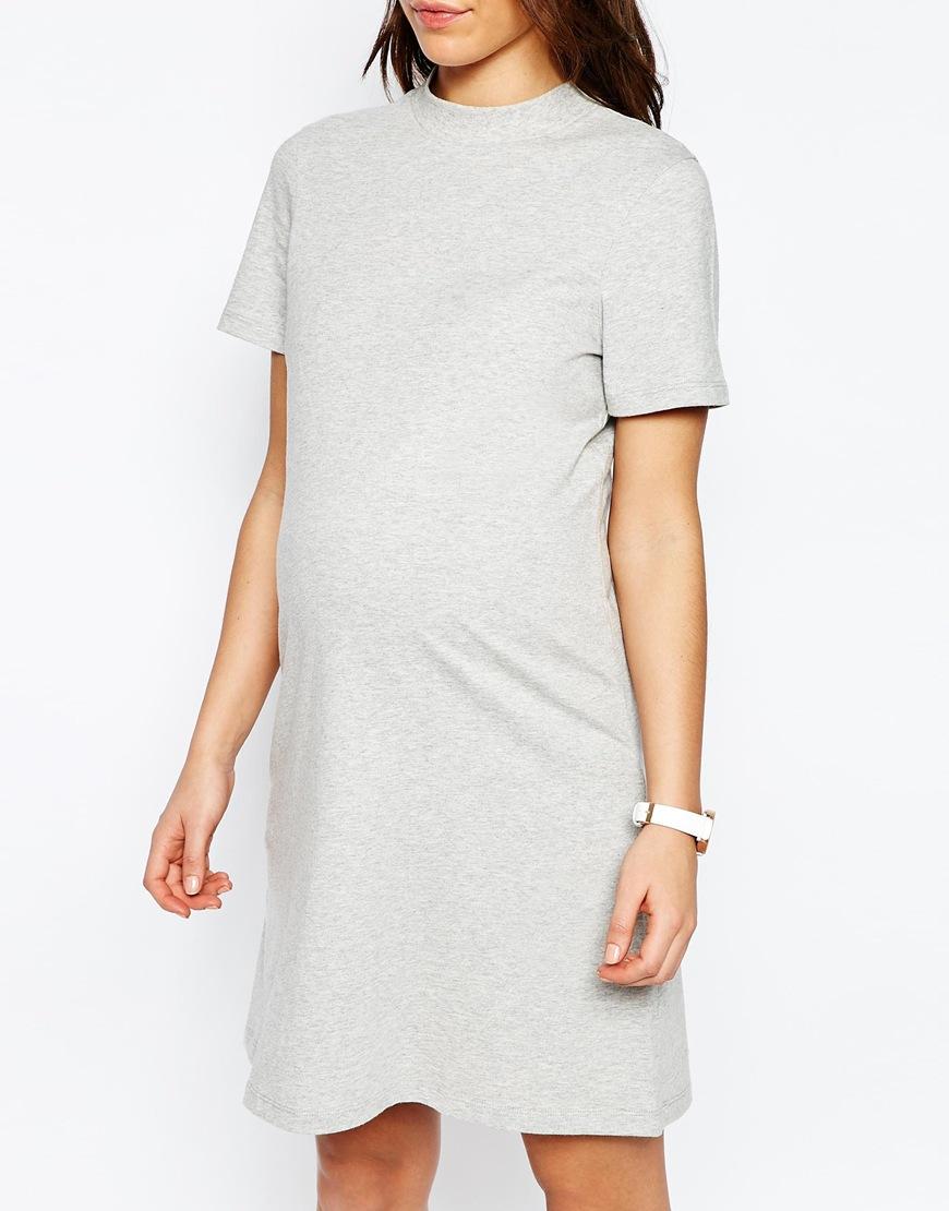 cae6a1d08bcf0 ASOS Maternity High Neck T Shirt Dress in Gray - Lyst