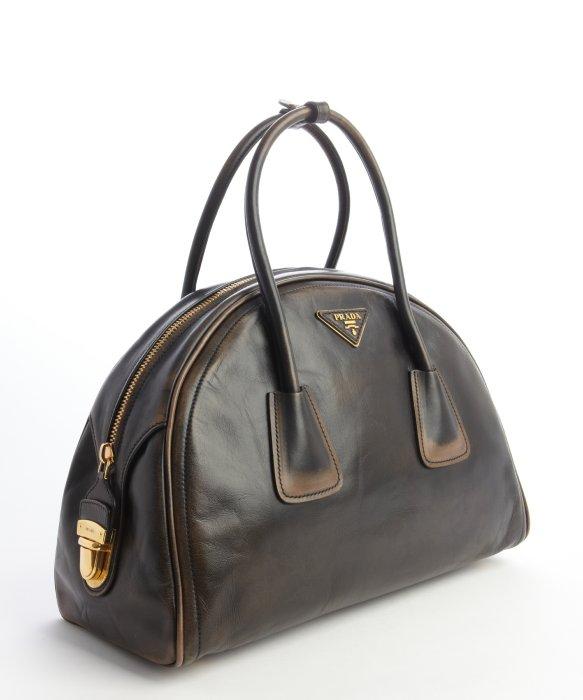 prada brown leather bowler bag