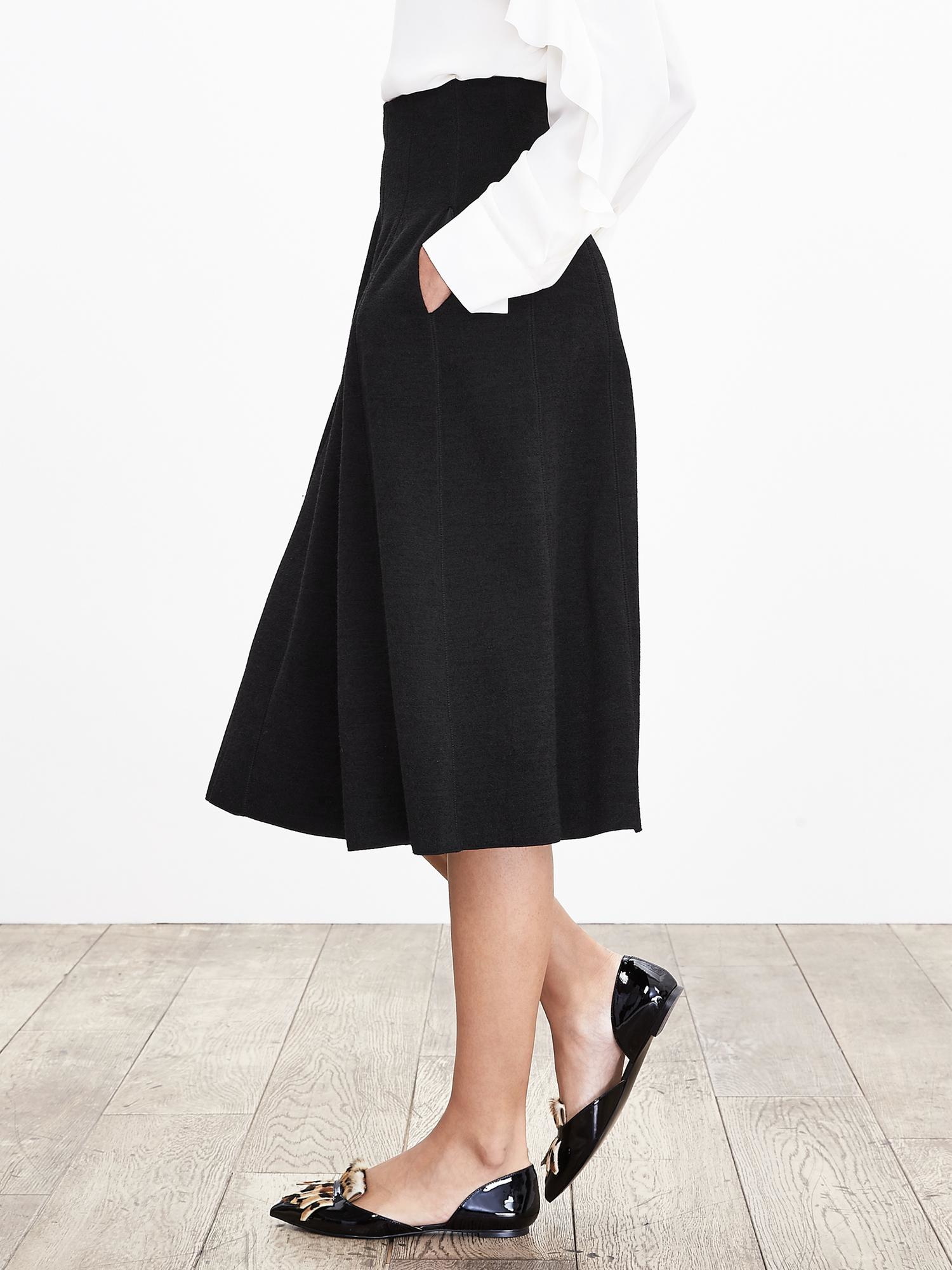 banana republic knit tulip midi skirt in black lyst
