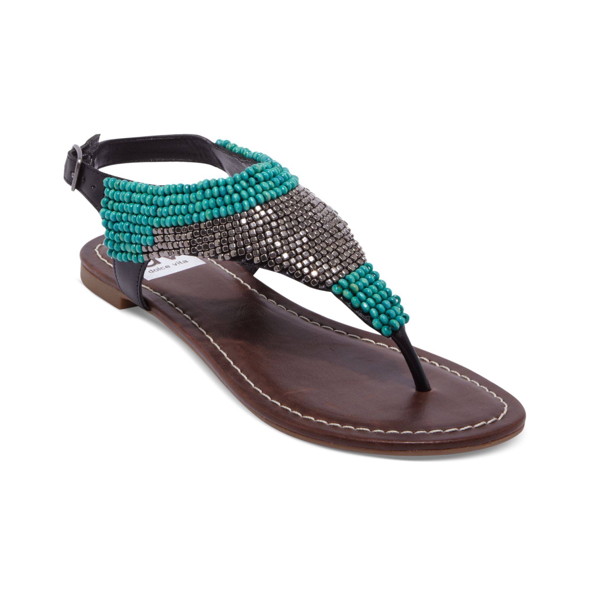 Lyst Dolce Vita Delancey Beaded Flat Thong Sandals In Brown