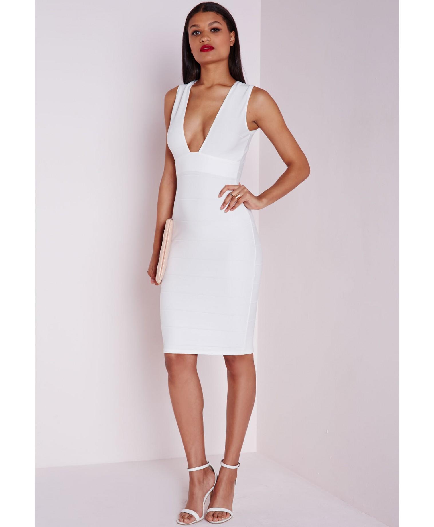 22fef503ae Lyst - Missguided Bandage Plunge Midi Dress White in White