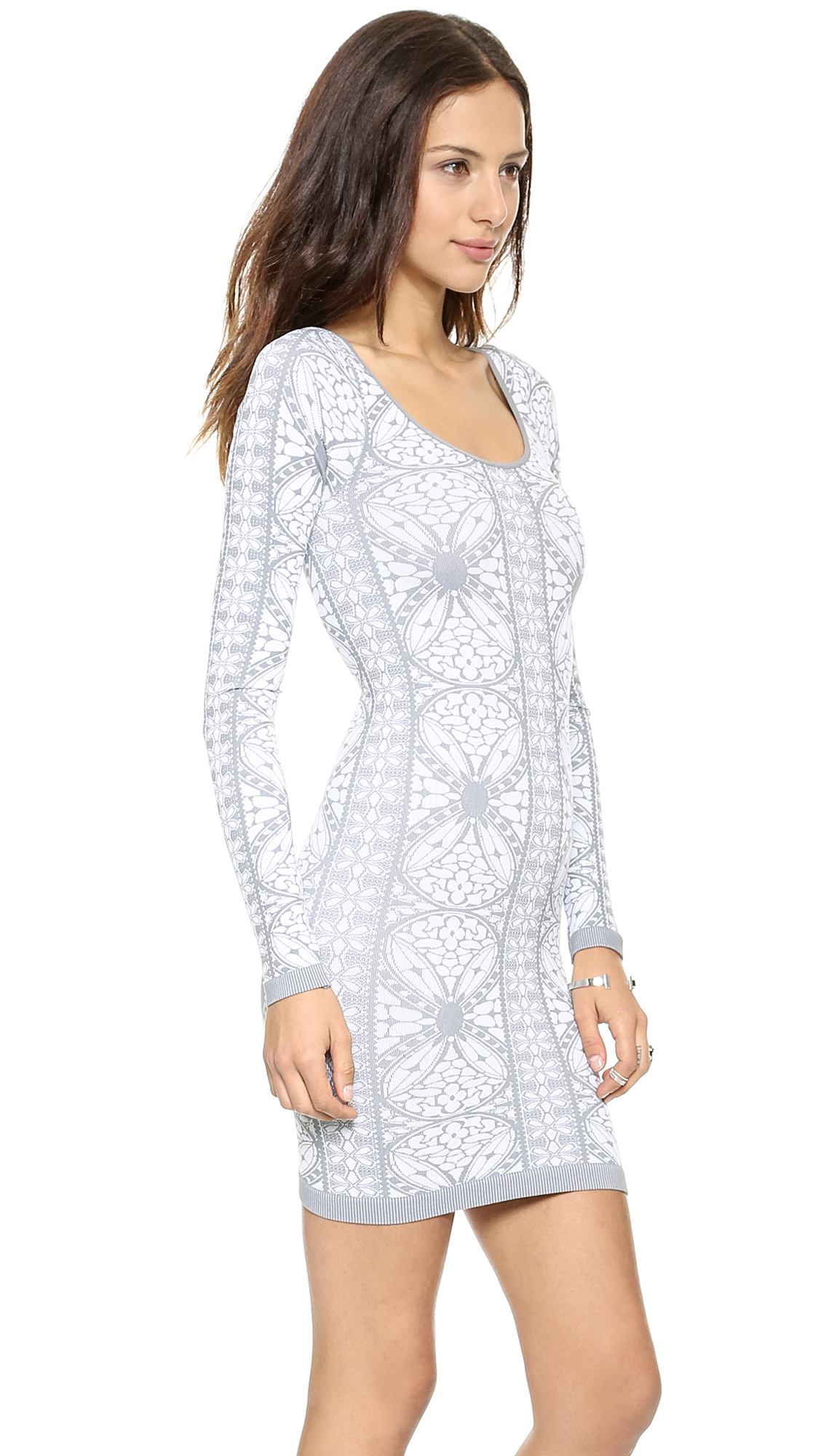 Free people Printed Long Sleeve Bodycon Dress in Gray | Lyst