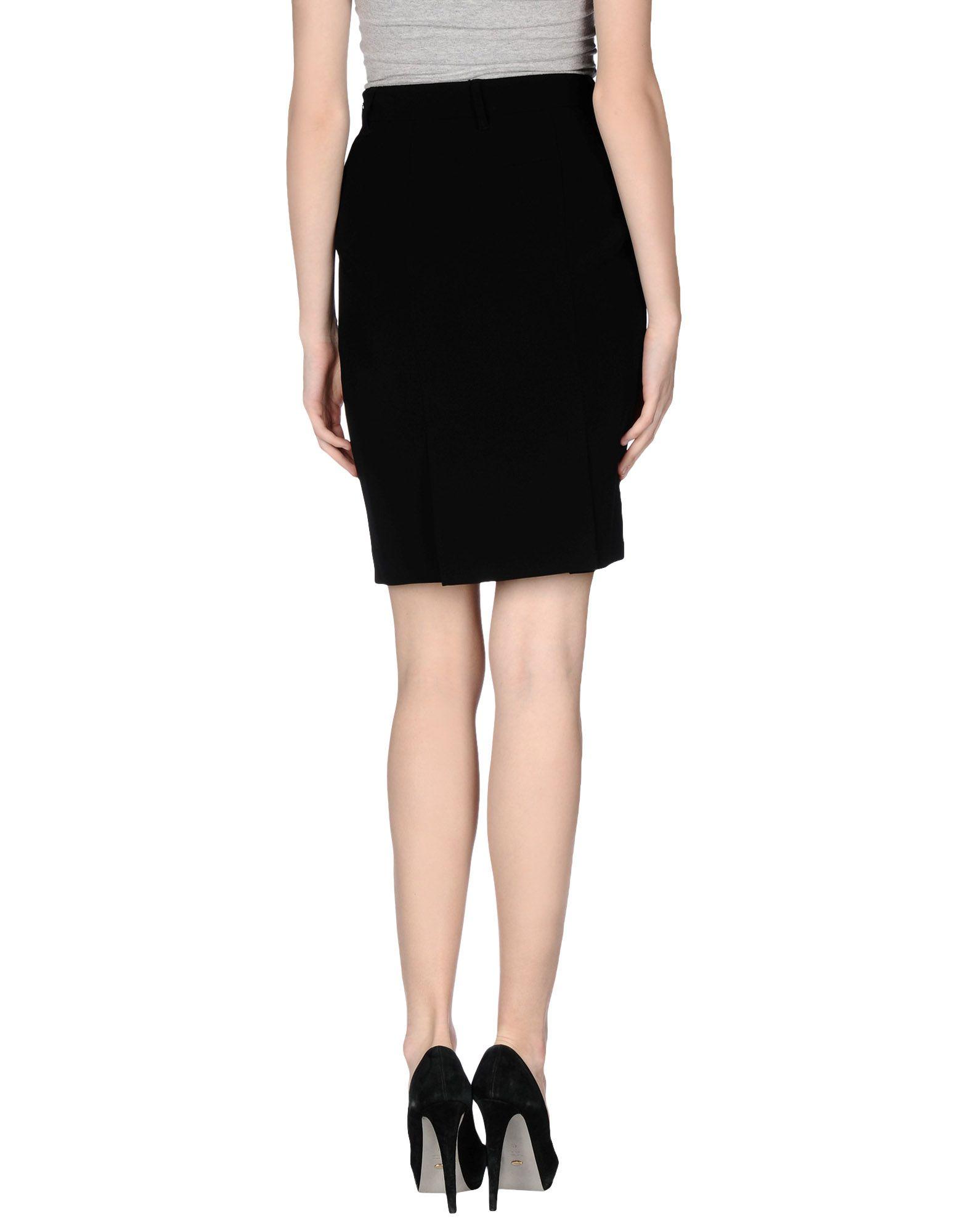 moschino knee length skirt in black lyst