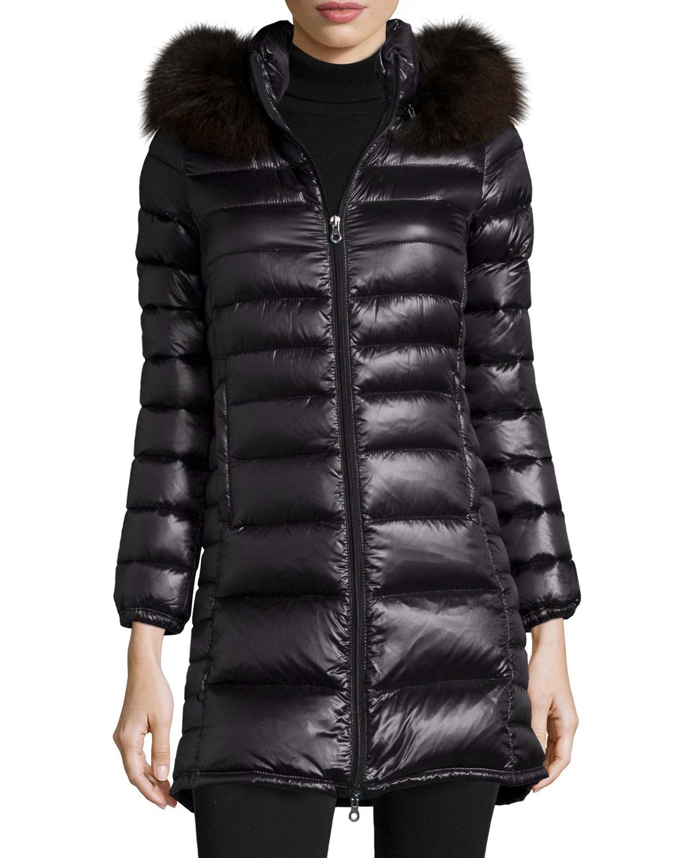 Lyst Duvetica Ociroe Long Puffer Coat With Fur Hood In Black