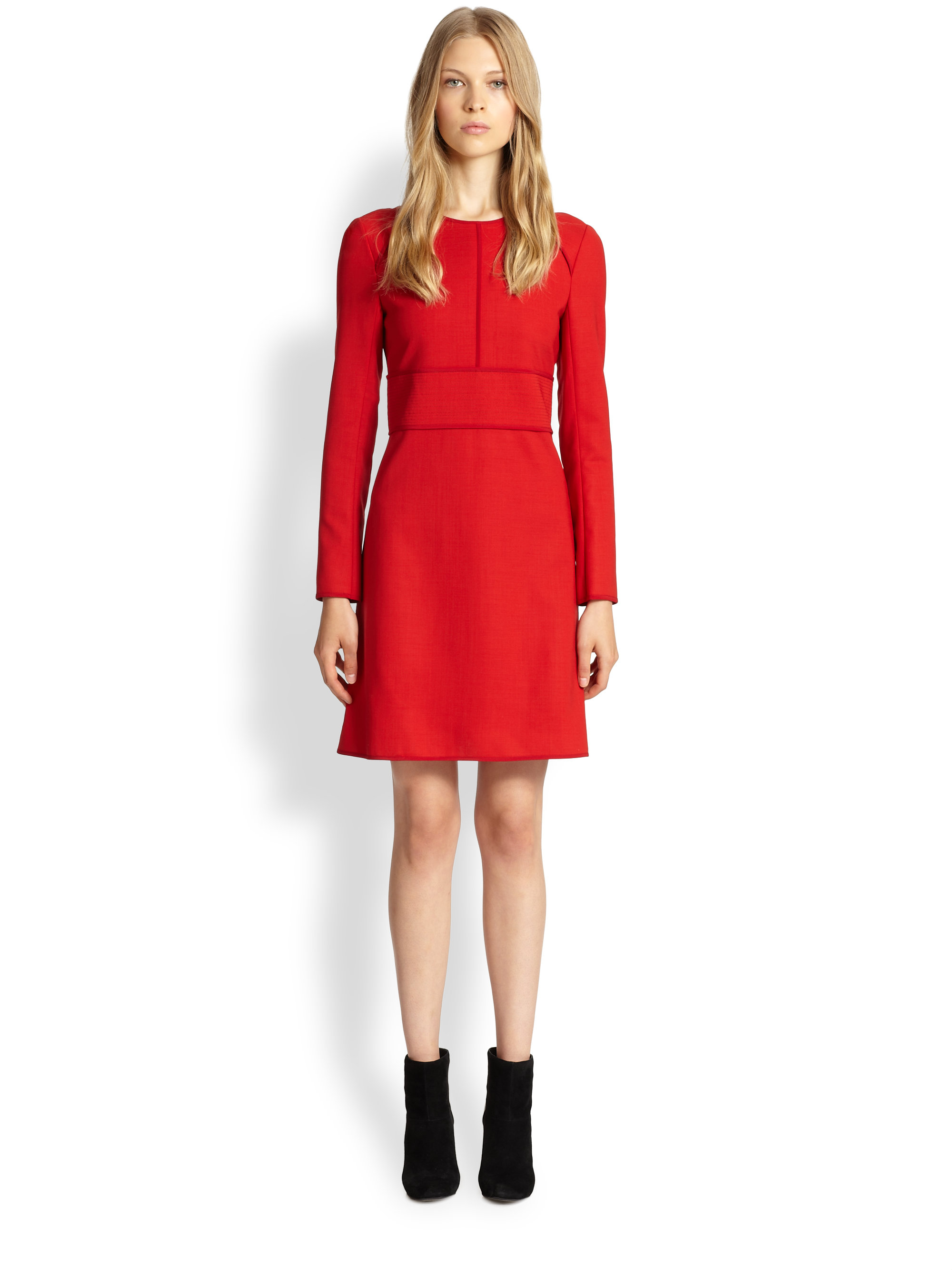Chloé Wool A-Line Dress in Red | Lyst