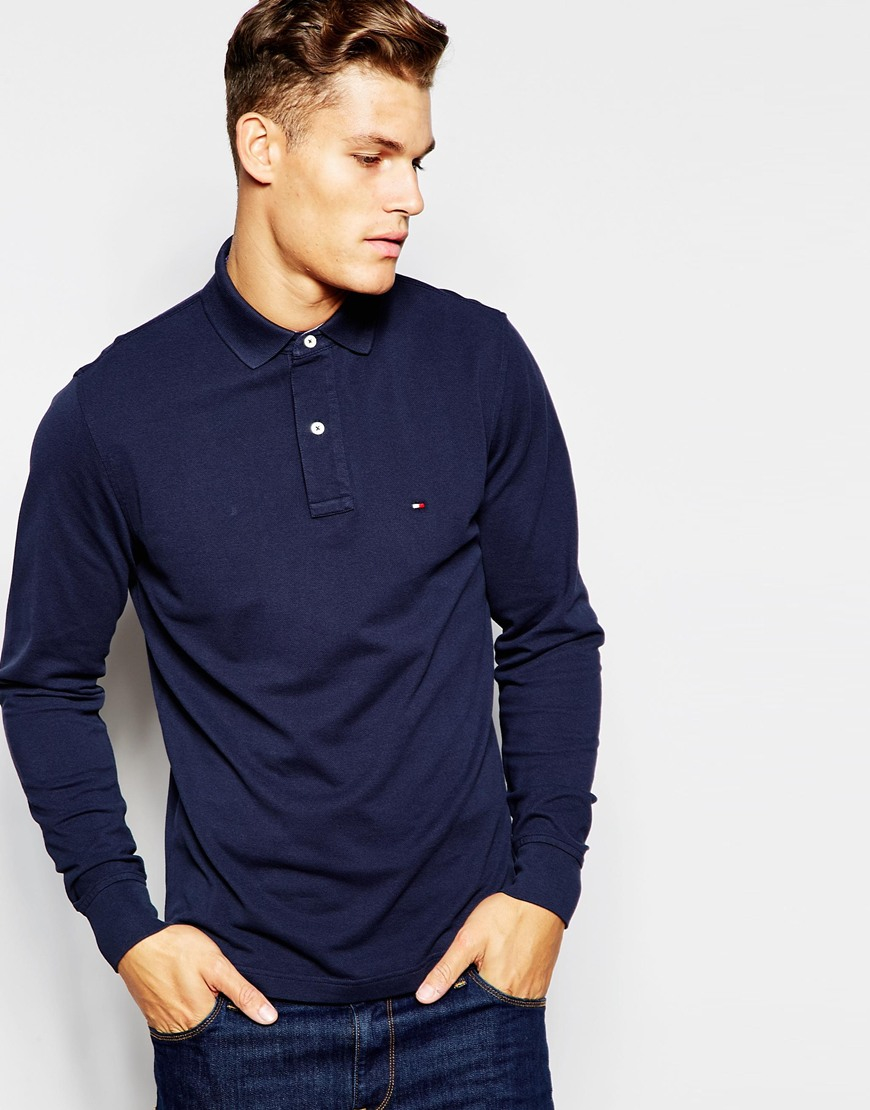 lyst tommy hilfiger long sleeve polo with contrast under collar regular fit navy in blue for men. Black Bedroom Furniture Sets. Home Design Ideas