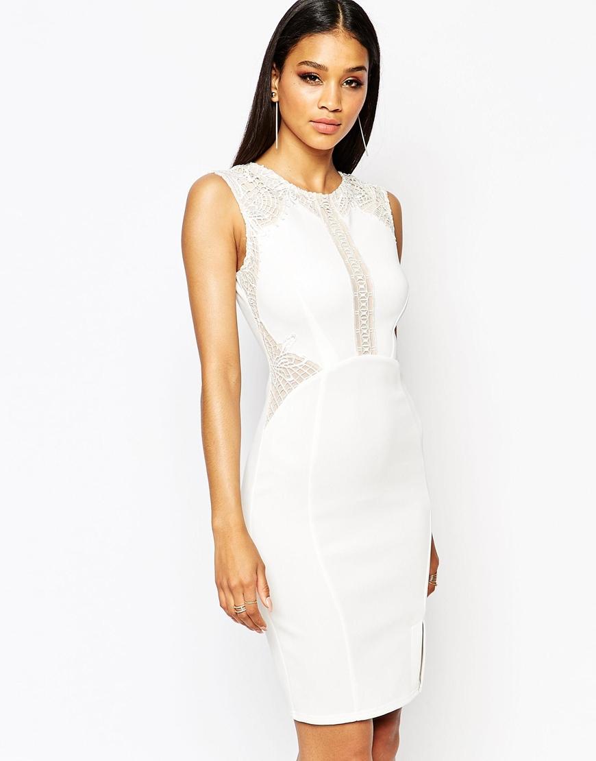 Lyst - Lipsy Lace Mesh Insert Bodycon Dress - White in White