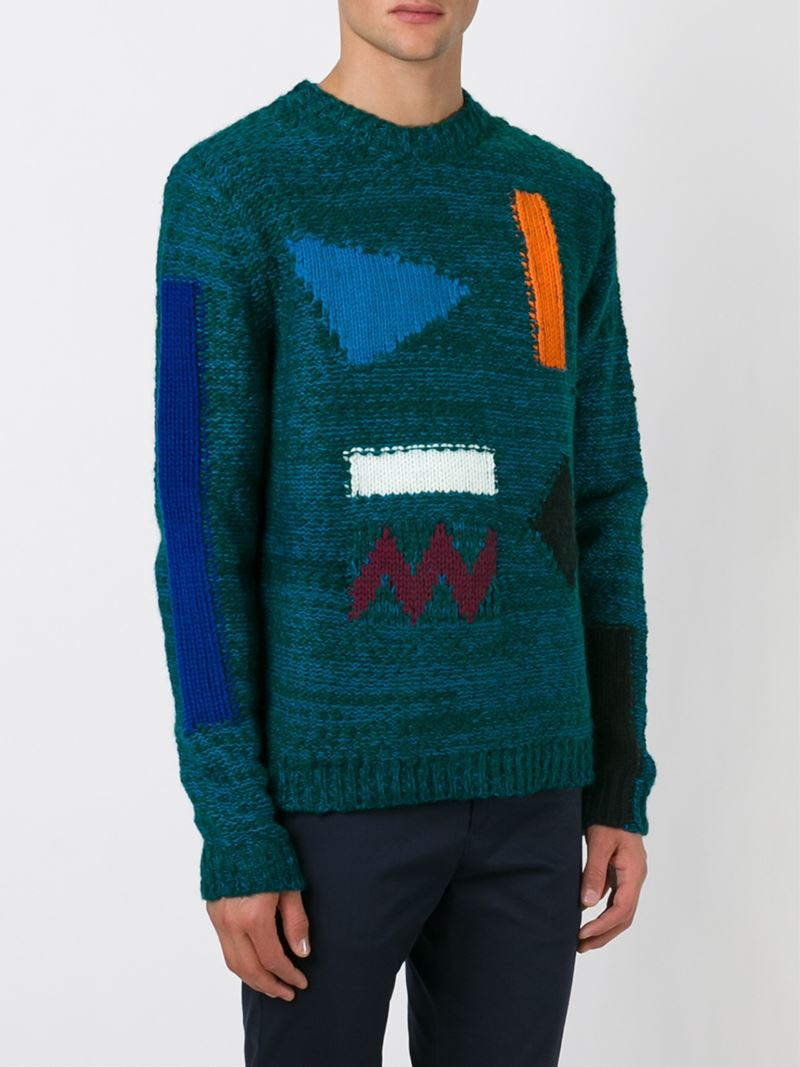 kenzo 39 symbols 39 intarsia sweater in green for men lyst. Black Bedroom Furniture Sets. Home Design Ideas