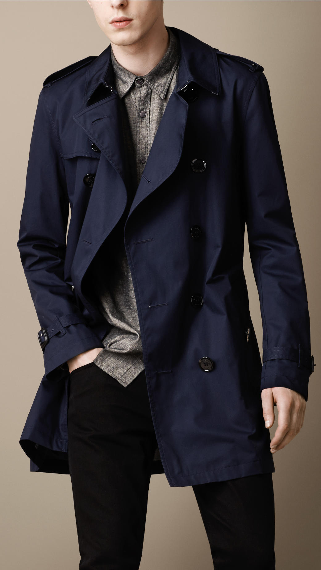 Burberry brit Midlength Cotton Trench Coat in Blue for Men | Lyst