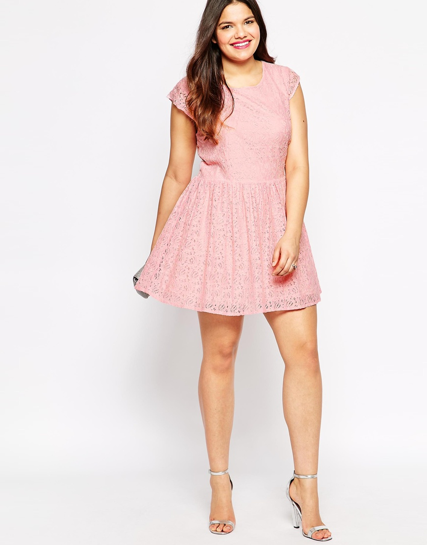 Diya Plus Size White And Green Ombre Lace Dress in Pink - Lyst