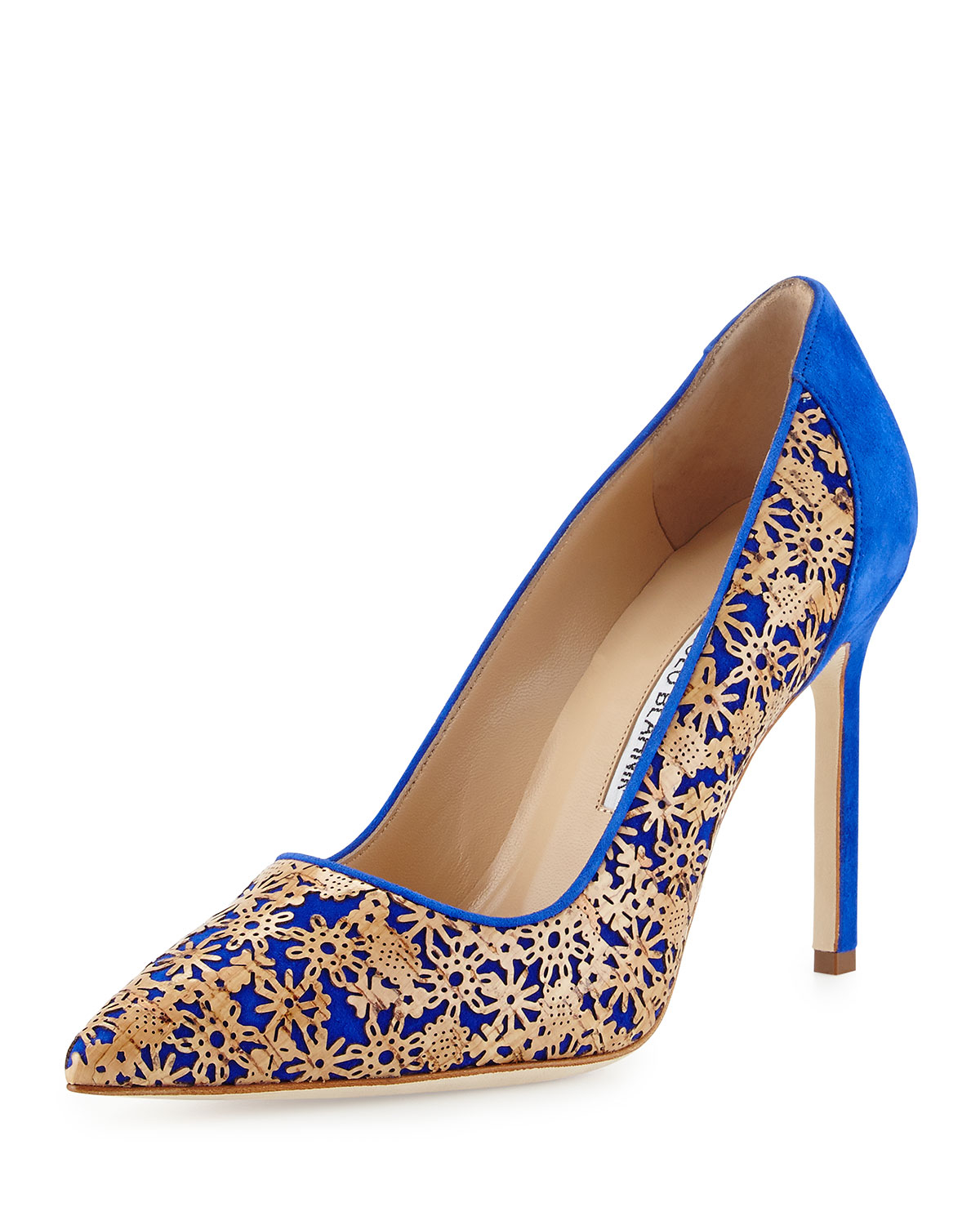 Manolo blahnik ichi laser cut cork suede pump in blue lyst for Who is manolo blahnik