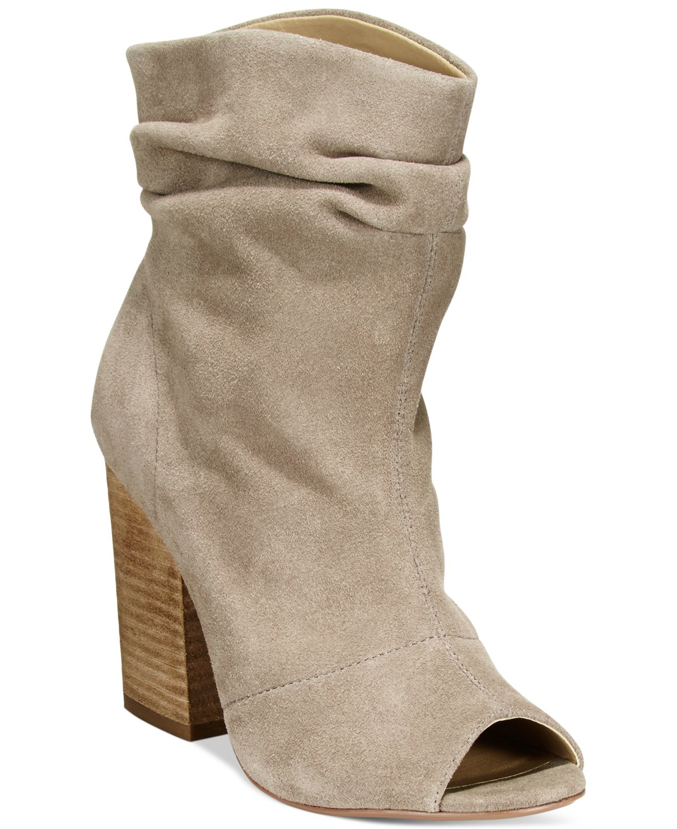 Chinese Laundry Break Up Peep Toe Suede Slouchy Booties In
