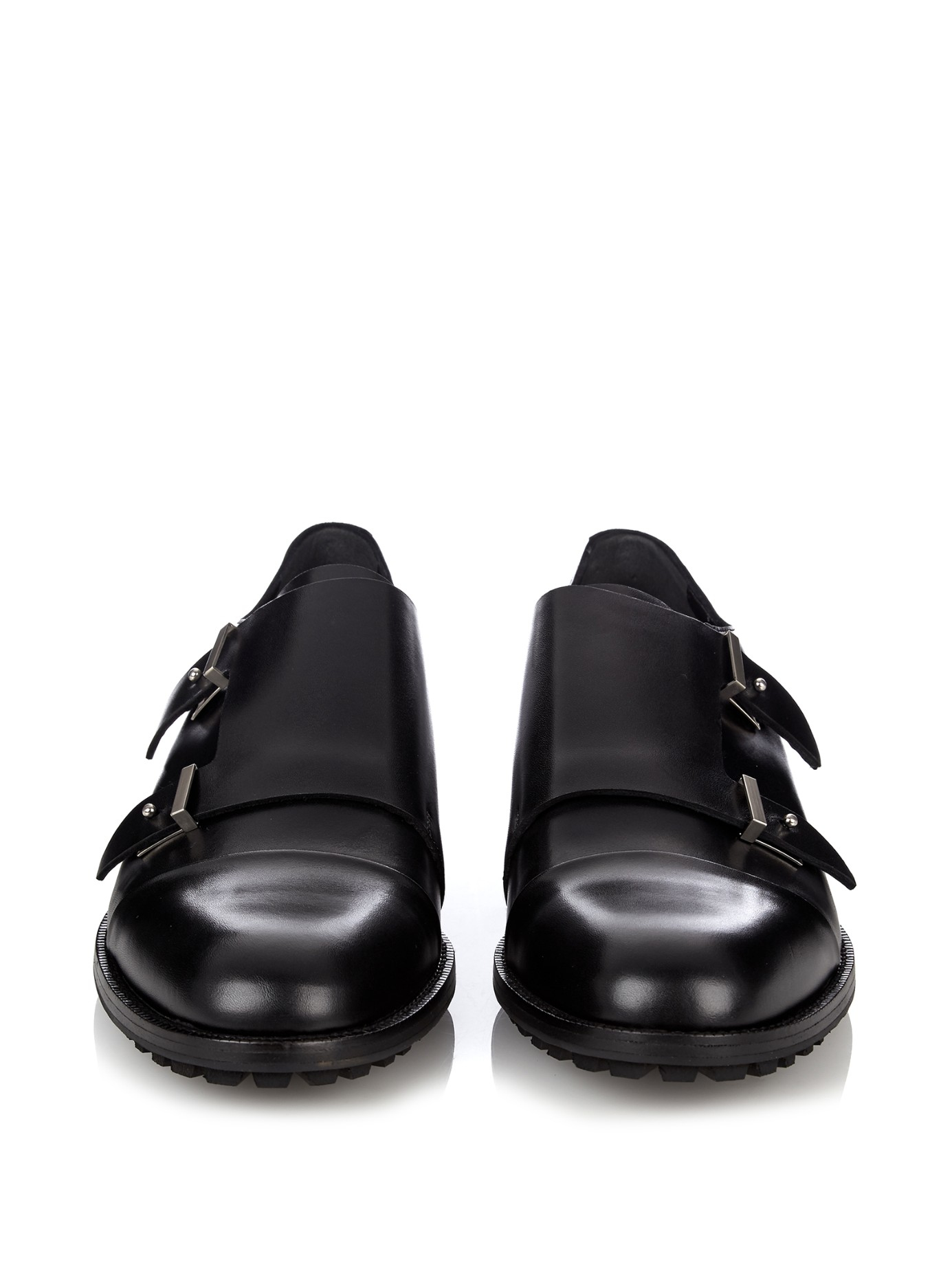 Balenciaga Monk Strap Leather Shoes In Black For Men Lyst