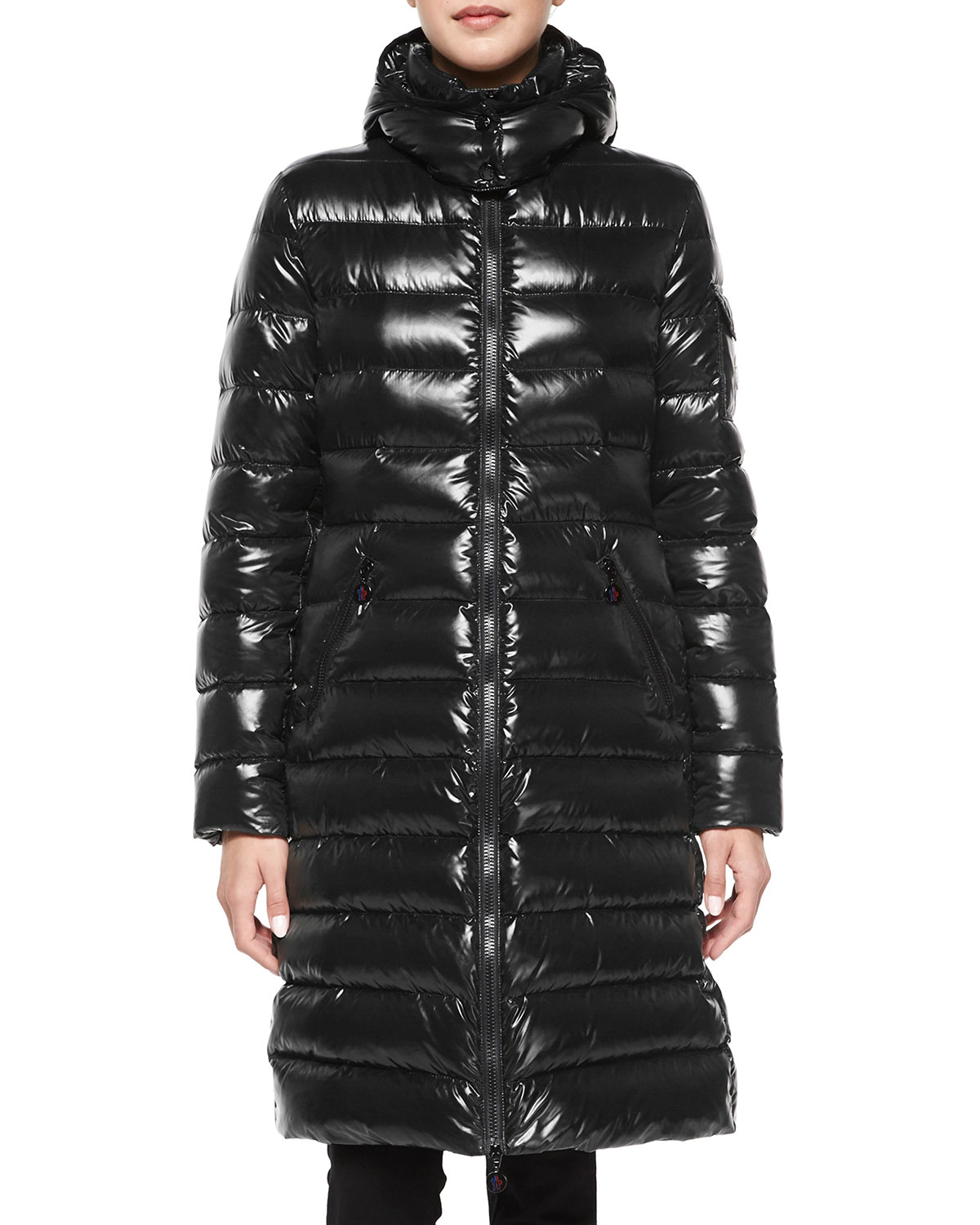 Moncler Moka Shiny Fitted Puffer Coat With Hood In Black