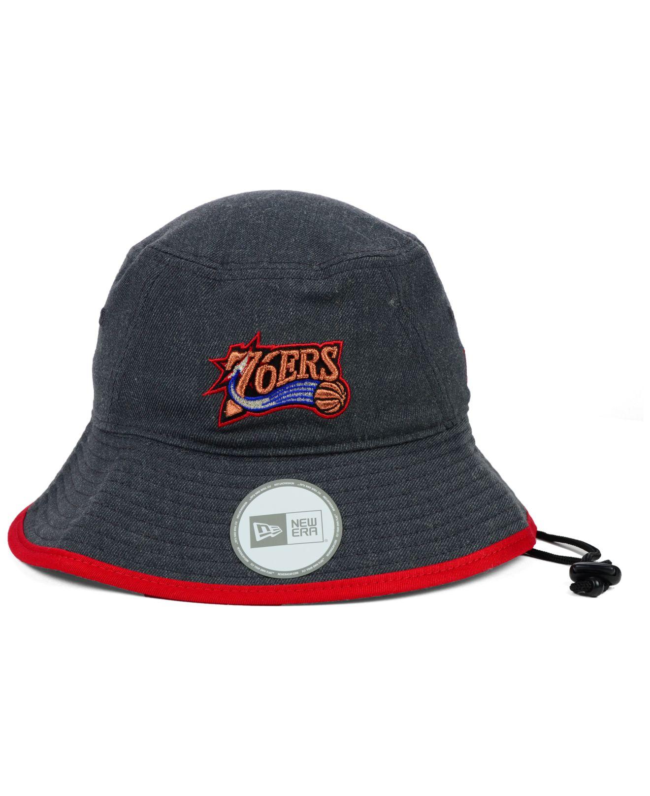 69563074470 Lyst - KTZ Philadelphia 76ers Dark Heather Tipped Bucket Hat in ...