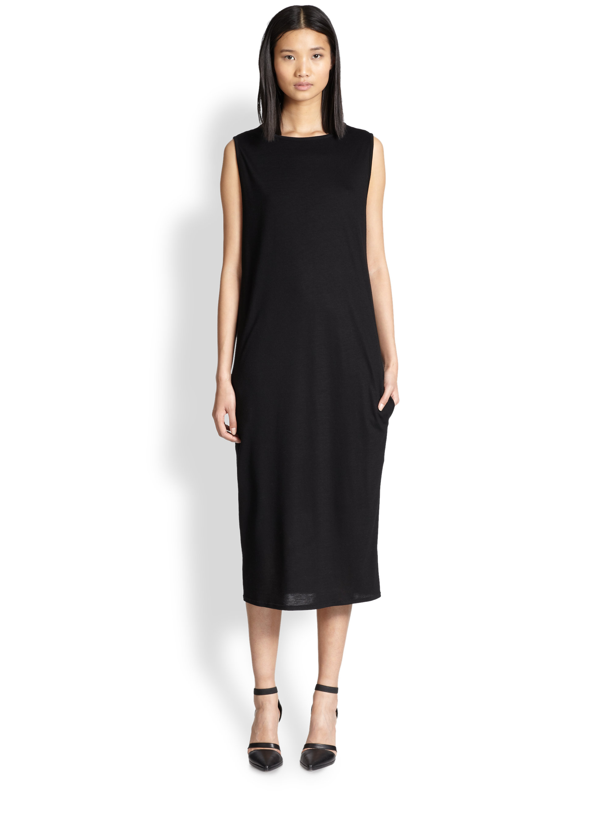 c42f44fd6654 Lyst - Helmut Lang Sleeveless Jersey Midi Dress in Black