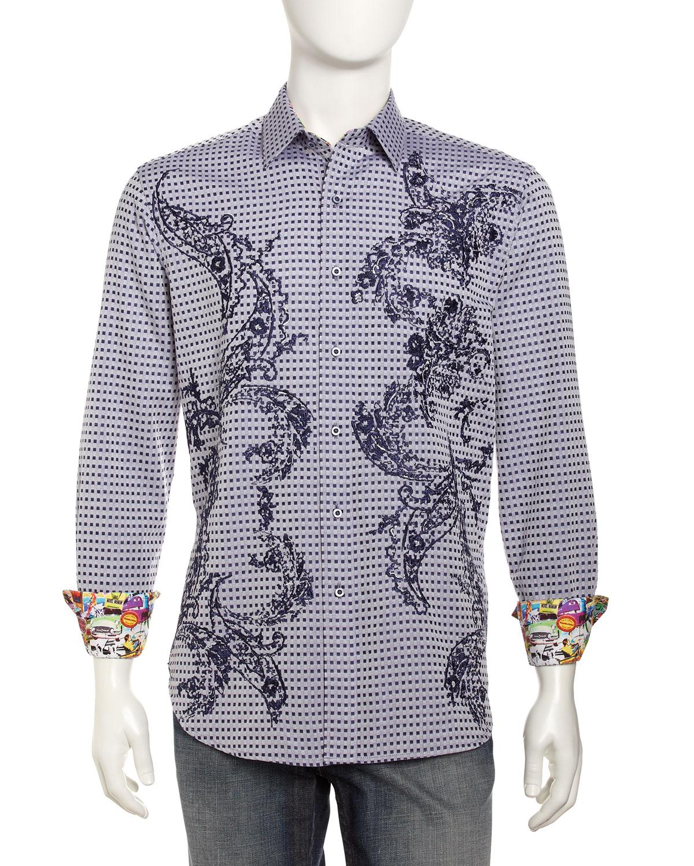 Robert graham paisleyembroidered checkjacquard sport shirt for Robert graham sport shirt