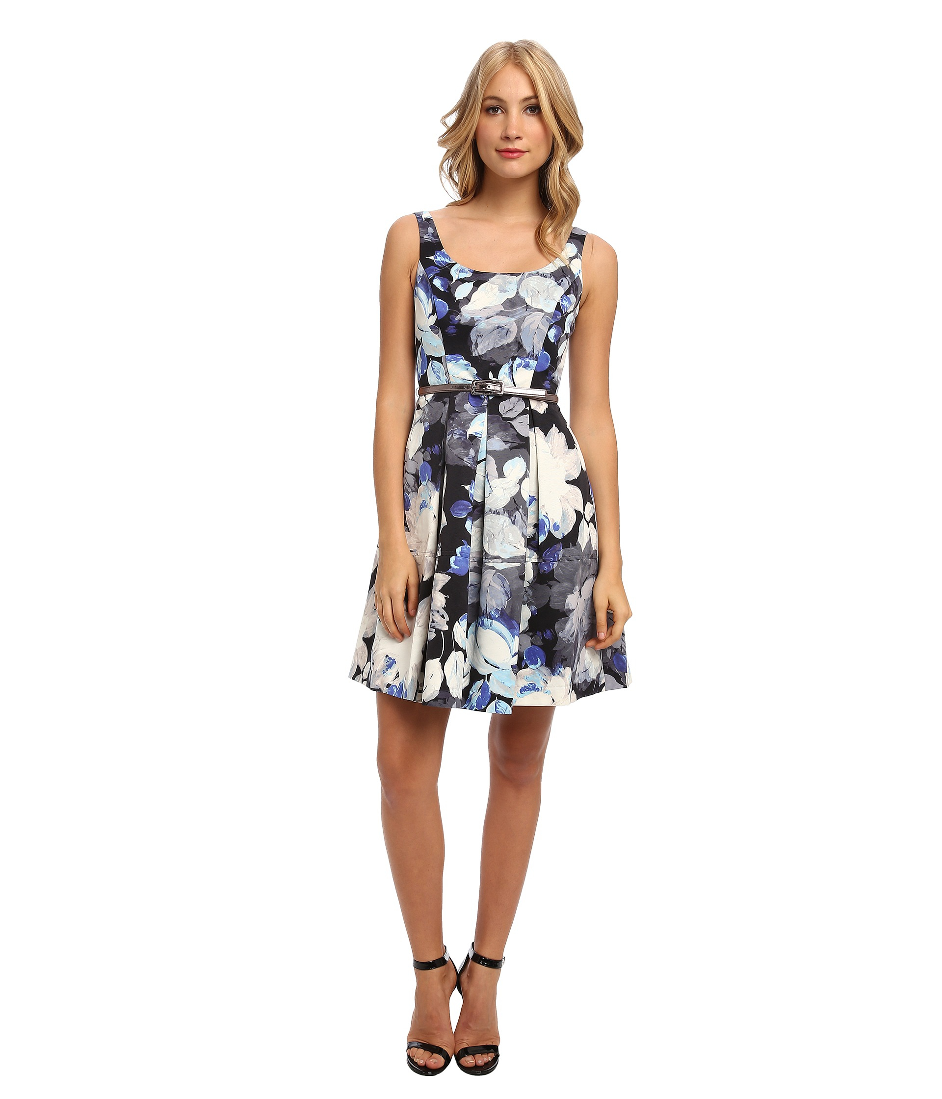 ab55bc358ad7b Lyst - Eliza J Sleeveless Floral Fit Flare Dress W Pleated Skirt in Blue