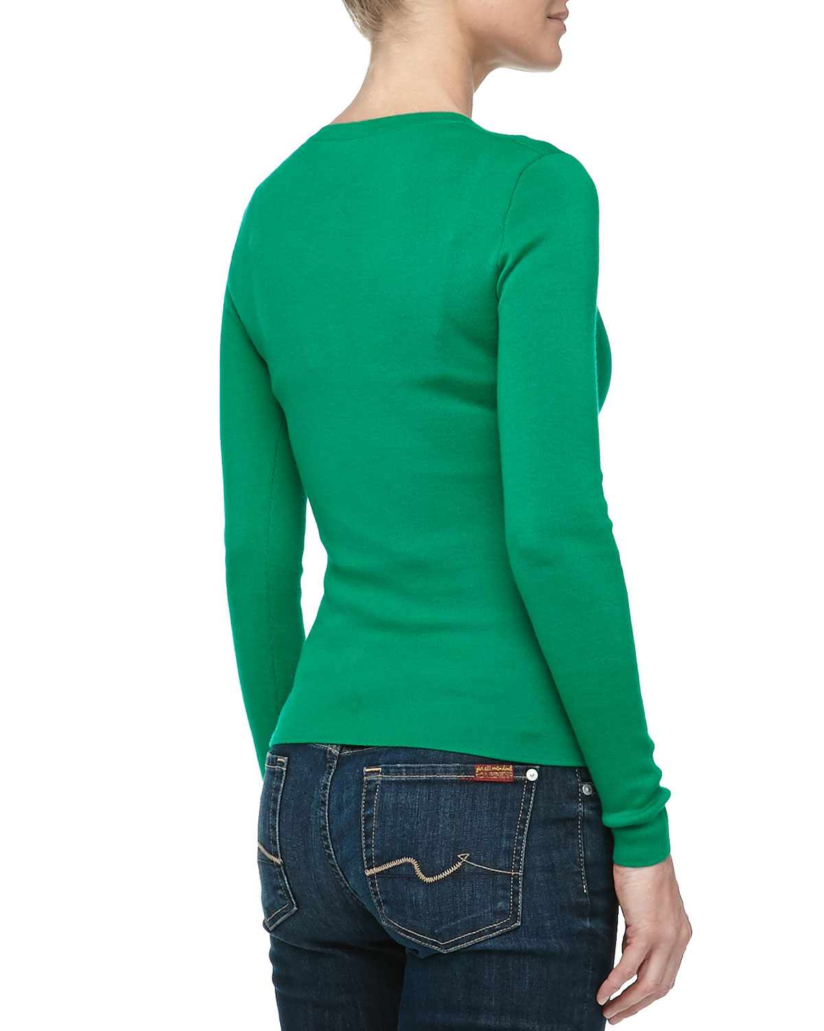 Michael kors Vneck Super Cashmere Sweater in Green | Lyst