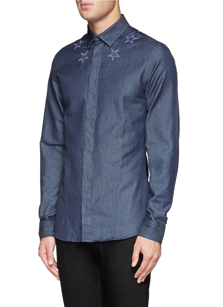 Givenchy star embroidery denim shirt in blue for men lyst