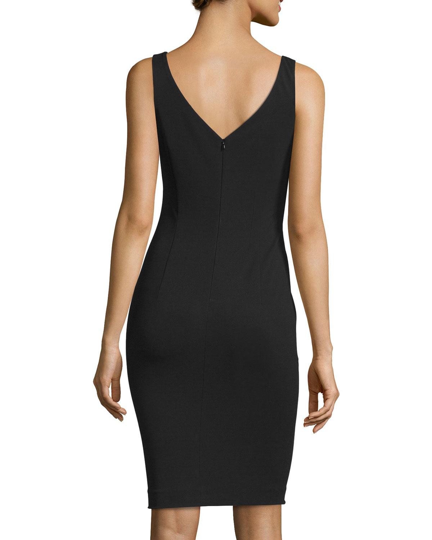 Escada Sleeveless V-neck Sheath Dress In Black