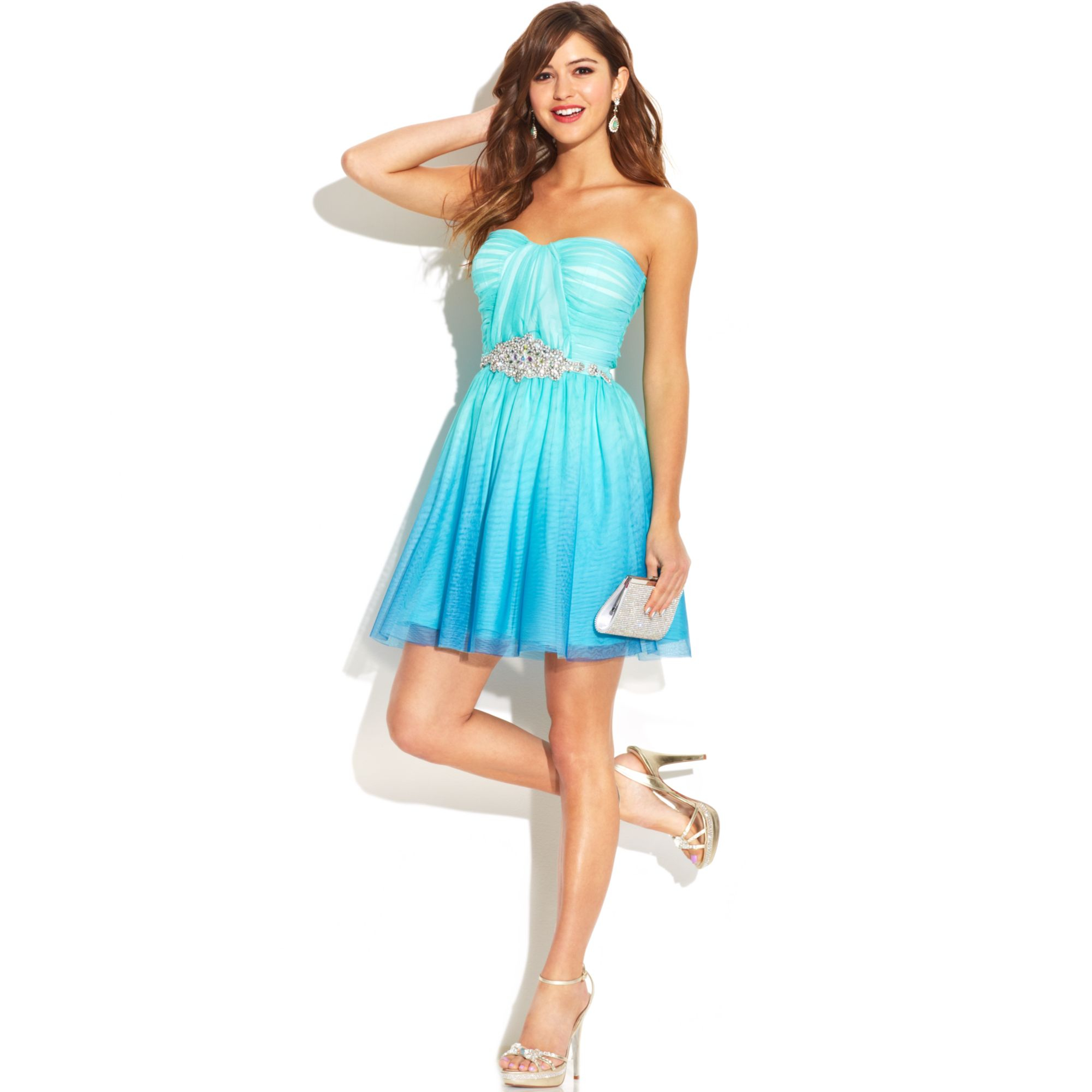 as u wish juniors strapless rhinestone ombre dress in green teal